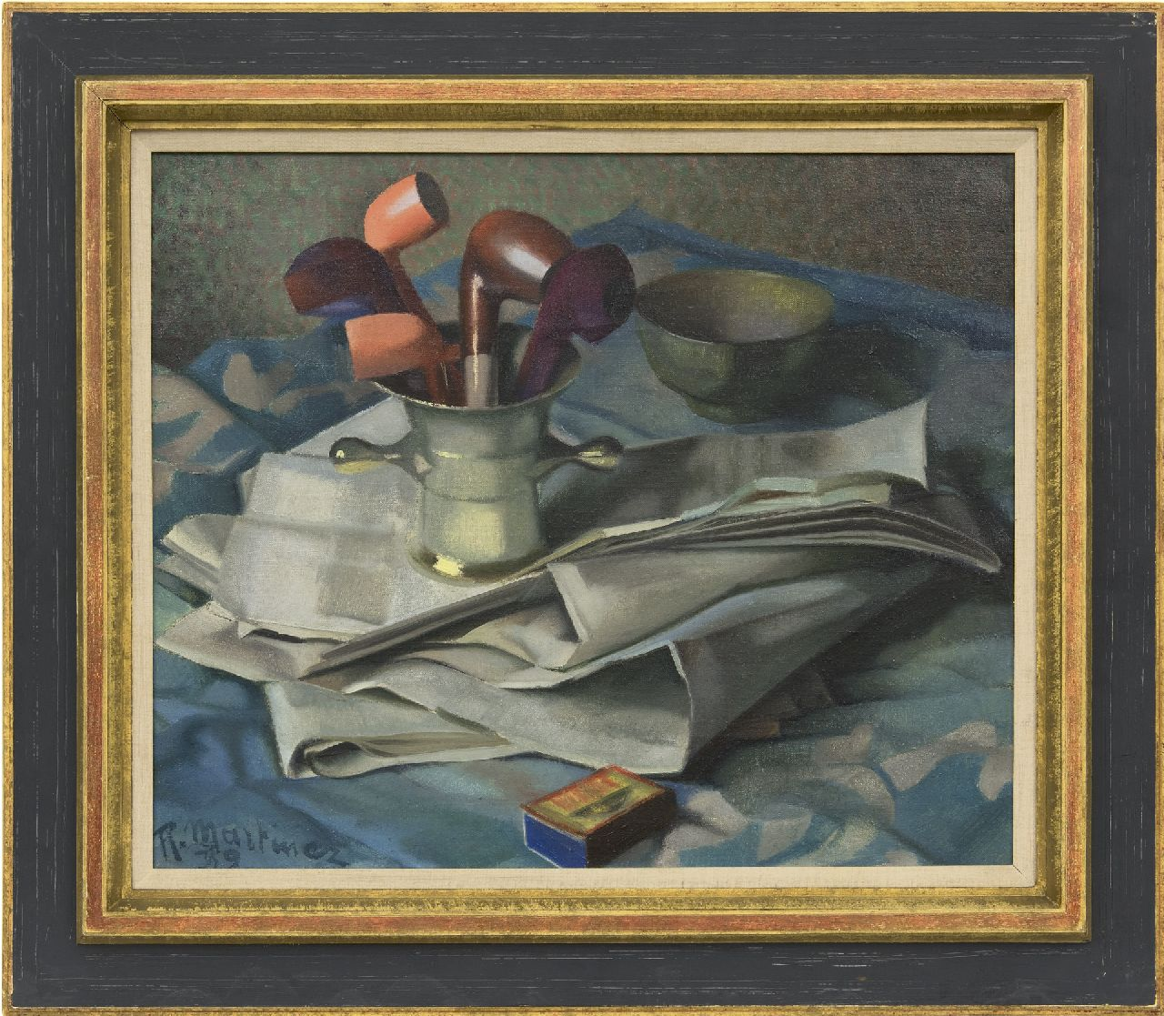 Martinez R.  | Raoul Martinez | Paintings offered for sale | Still life with mortar, pipes and a newspaper, oil on canvas 46.2 x 55.3 cm, signed l.l. and dated '39