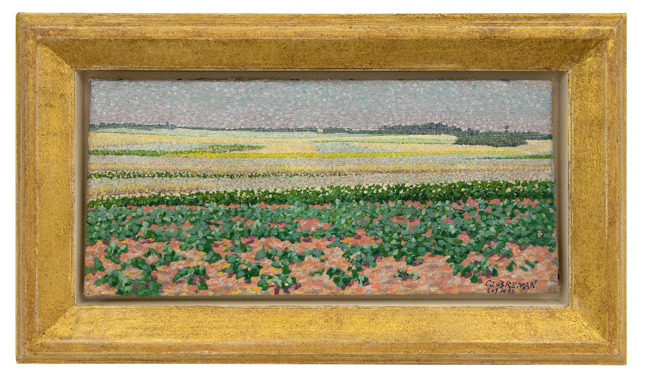 Breman A.J.  | Ahazueros Jacobus 'Co' Breman | Paintings offered for sale | Summer landscape with potato- and buckwheatfields in the Gooi region, oil on canvas 18.7 x 40.5 cm, signed l.r. and dated 'L 1 7 1903'