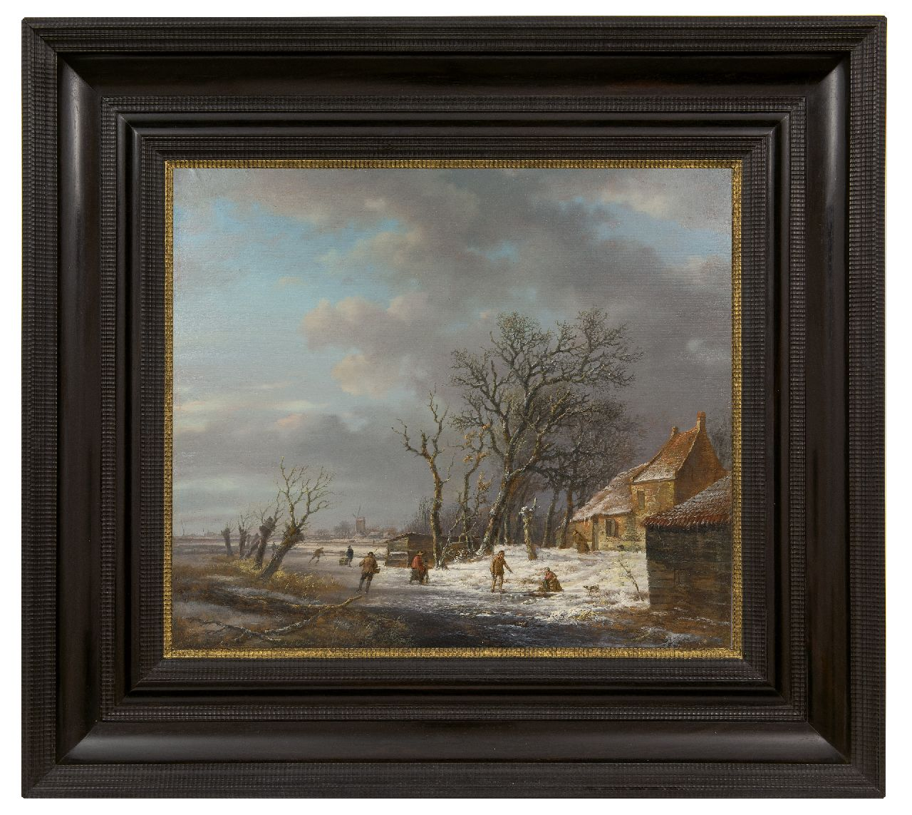 Schelfhout A.  | Andreas Schelfhout | Paintings offered for sale | Winter landscape with skaters and a washerwoman at an ice hole, oil on panel 37.0 x 43.1 cm, signed l.l. and painted ca. 1820