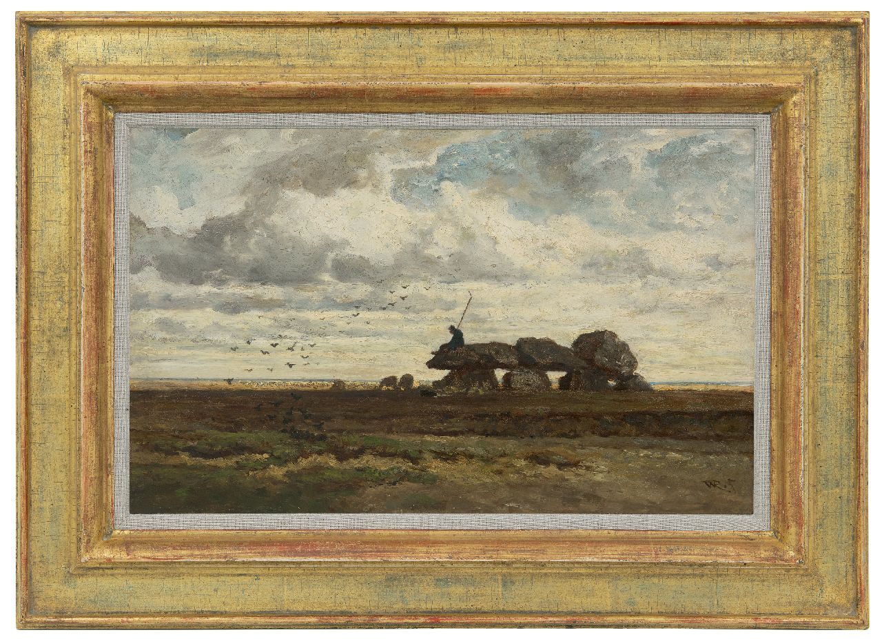 Roelofs W.  | Willem Roelofs | Paintings offered for sale | The dolmen of Tynaarlo, Drenthe, oil on panel 28.9 x 46.2 cm, signed l.r. with initials and painted ca. 1863-1870