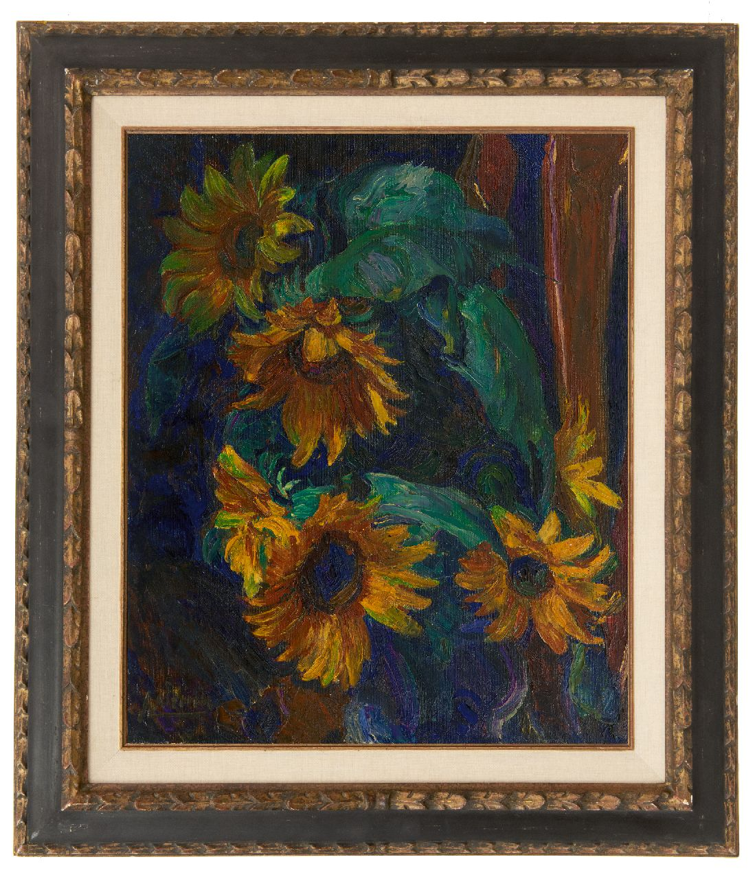 Altink J.  | Jan Altink, Sunflowers, oil on canvas 56.5 x 46.5 cm, signed l.l.