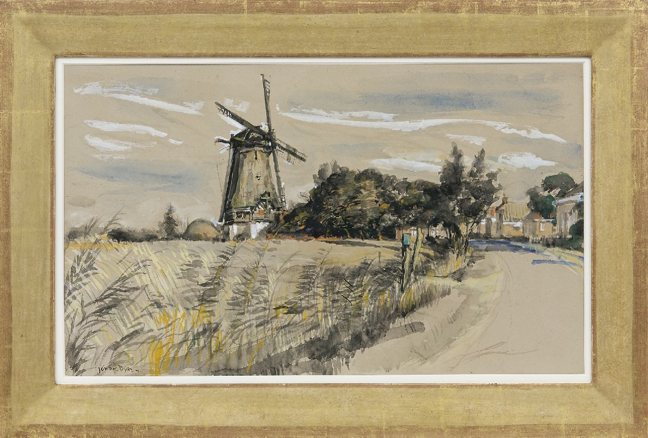 Dijkstra J.  | Johannes 'Johan' Dijkstra | Watercolours and drawings offered for sale | View on Eenrum with the Lutje Meulen, watercolour on paper 40.3 x 67.2 cm, signed l.l.
