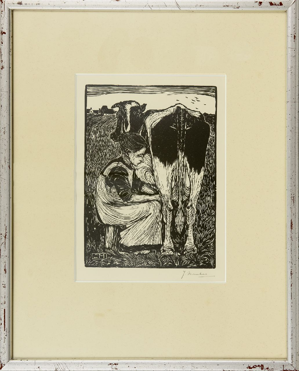 Mankes J.  | Jan Mankes | Prints and Multiples offered for sale | Peasant woman milking a cow, woodcut on paper 22.0 x 16.0 cm, signed l.r.