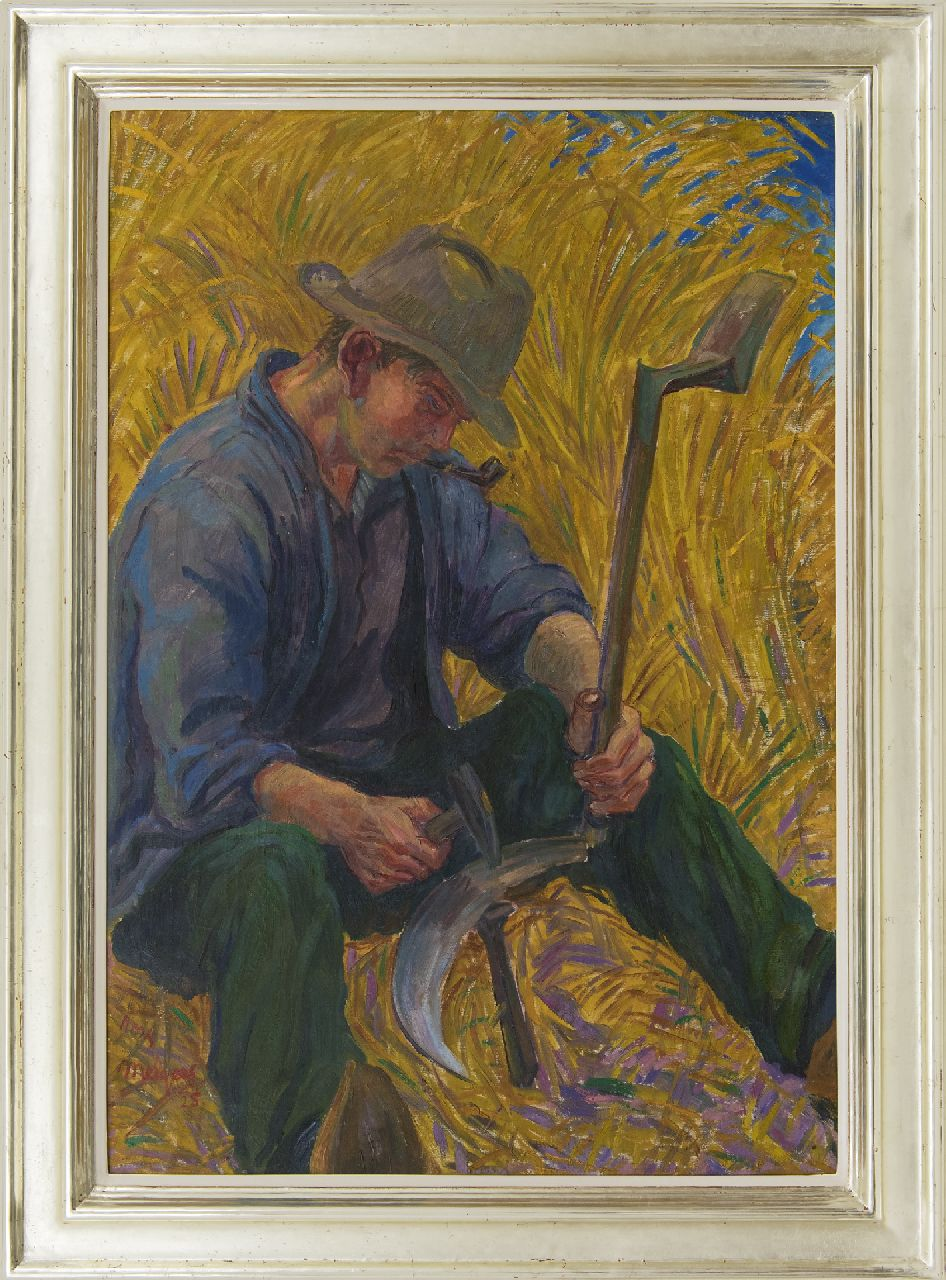 Melgers H.J.  | Hendrik Johan 'Henk' Melgers, Grinding the sickle, oil on canvas 100.2 x 70.1 cm, signed l.l. and dated '25