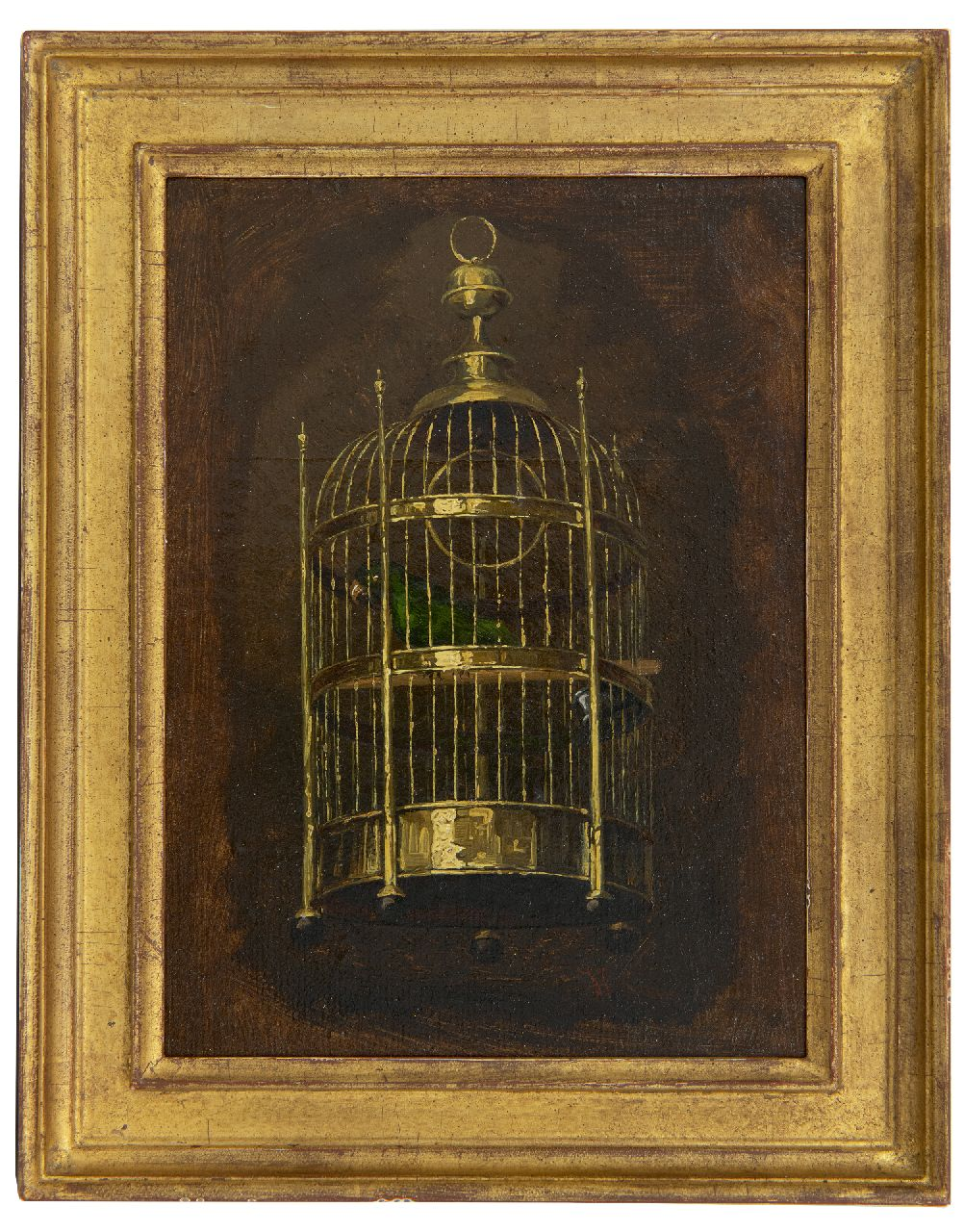Savrij H.  | Hendrik Savrij | Paintings offered for sale | The parrot cage, oil on canvas laid down on panel 22.1 x 16.1 cm, signed l.r.
