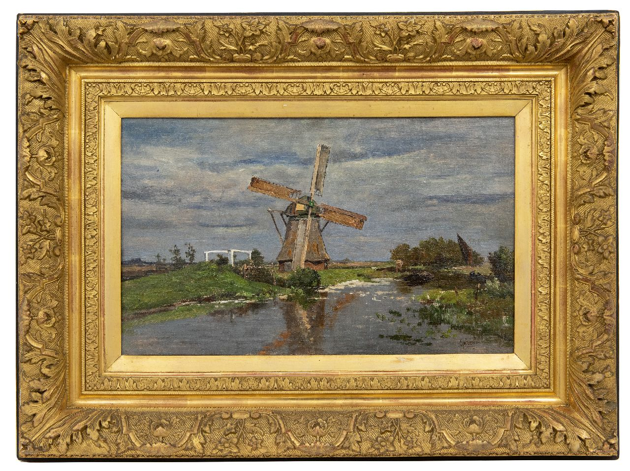 Gabriel P.J.C.  | Paul Joseph Constantin 'Constan(t)' Gabriel | Paintings offered for sale | Windmill near Giethoorn, oil on canvas laid down on panel 32.2 x 54.2 cm, signed l.r.