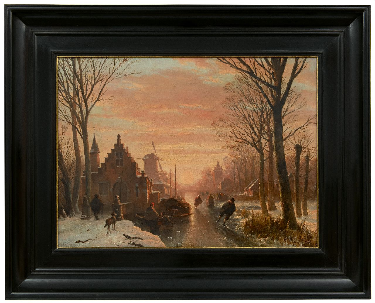 Wayen Pieterszen A. van der | Abraham van der Wayen Pieterszen | Paintings offered for sale | Skaters on a frozen town canal at sunset, oil on panel 43.3 x 59.3 cm, signed l.l.