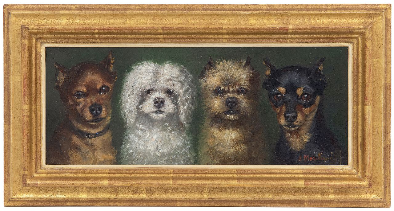 Kruijff A.M.  | Anna Maria Kruijff, Four small dogs, oil on panel 14.6 x 36.0 cm, signed l.r.