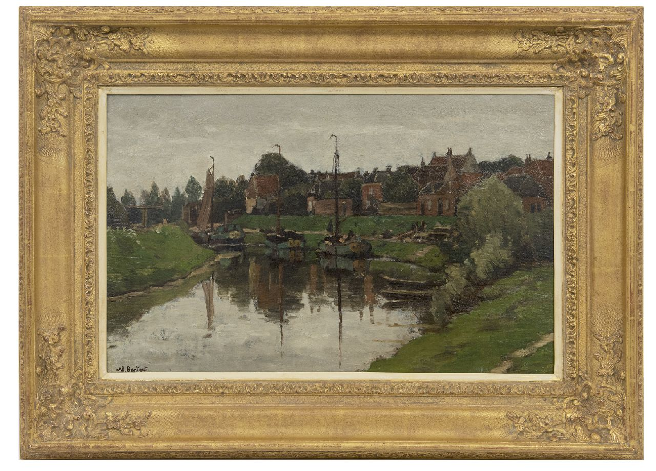 Bastert S.N.  | Syvert 'Nicolaas' Bastert | Paintings offered for sale | A view of Hattem, oil on canvas laid down on panel 36.4 x 56.2 cm, signed l.l.