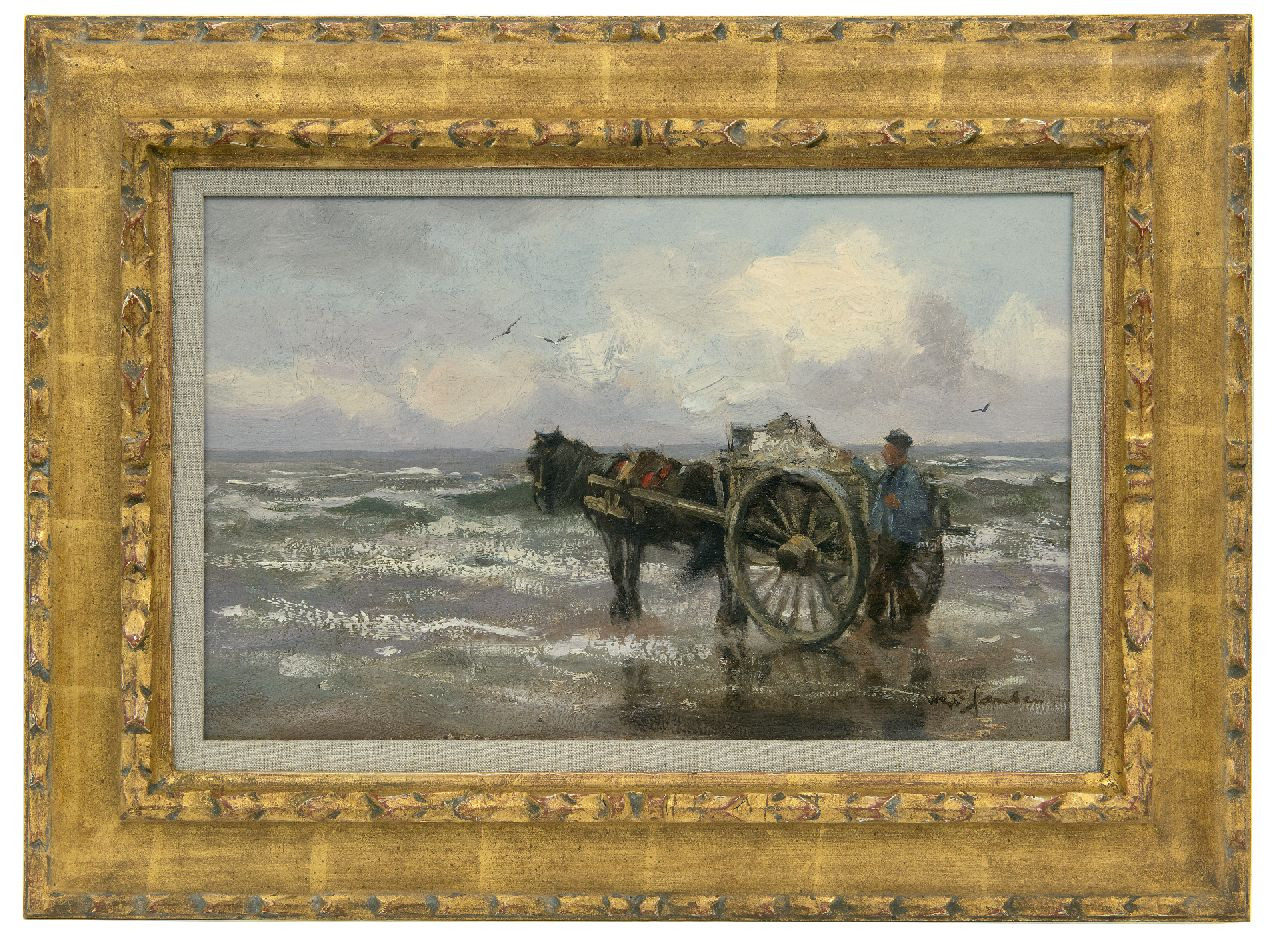 Jansen W.G.F.  | 'Willem' George Frederik Jansen | Paintings offered for sale | Shell fishing along the Dutch coast, oil on canvas 25.7 x 40.6 cm, signed l.r.