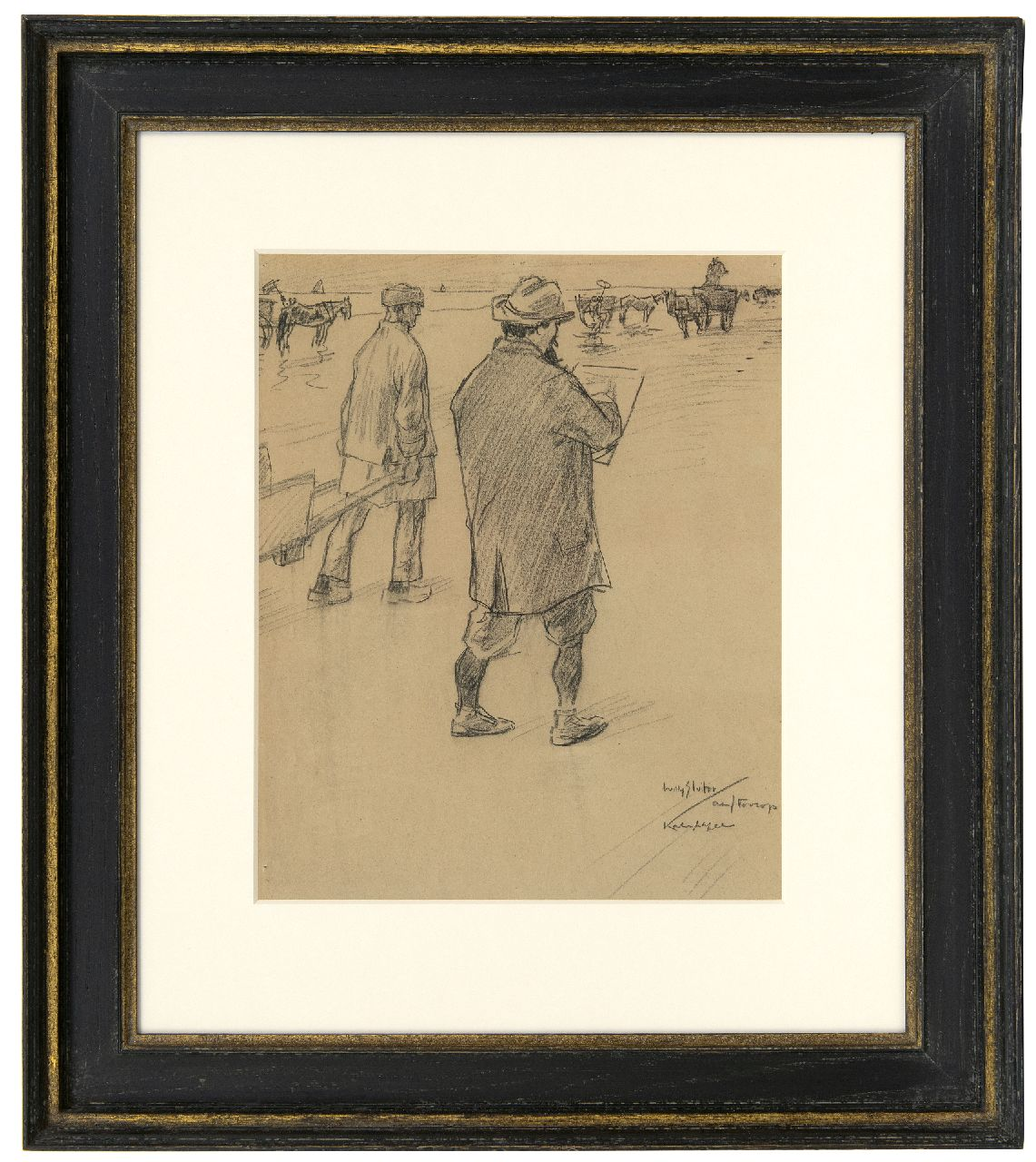 Sluiter J.W.  | Jan Willem 'Willy' Sluiter | Watercolours and drawings offered for sale | Jan Toorop sketching on the beach of Katwijk aan Zee, black chalk on paper 32.6 x 27.0 cm, signed l.r. and executed ca. 1898