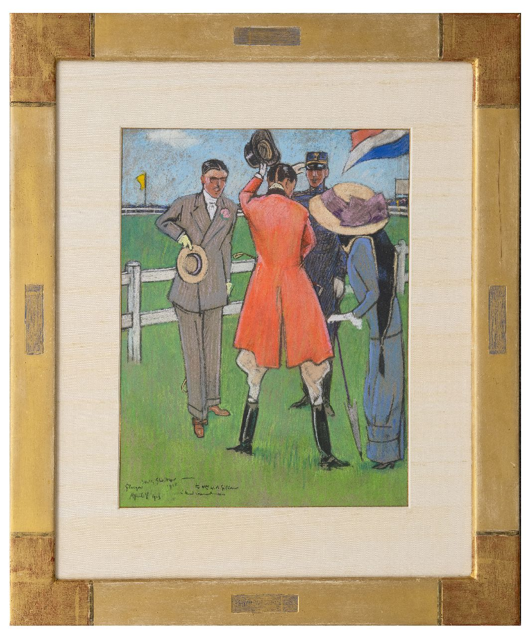 Sluiter J.W.  | Jan Willem 'Willy' Sluiter | Watercolours and drawings offered for sale | On the racecourse, pastel on paper 40.5 x 32.0 cm, signed l.l. and dated April 4 1911
