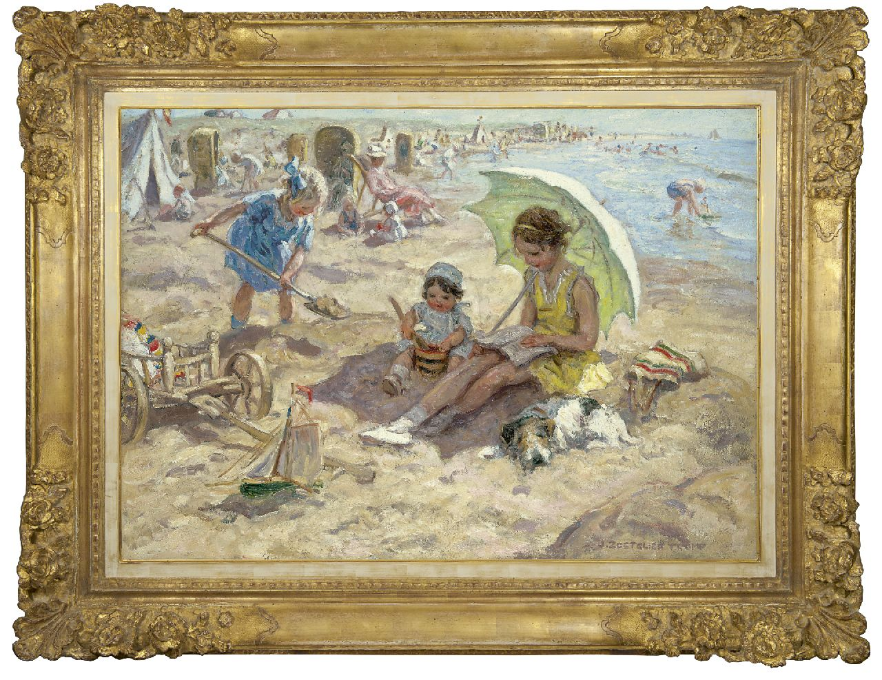Zoetelief Tromp J.  | Johannes 'Jan' Zoetelief Tromp | Paintings offered for sale | Children playing on the beach of Katwijk, oil on canvas 68.3 x 95.9 cm, signed l.r. and reverse