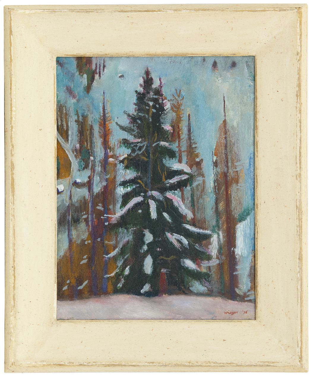 Wiegers J.  | Jan Wiegers | Paintings offered for sale | Fir, Frauenkirch (Davos), oil on panel 39.9 x 30.3 cm, signed l.r. and dated '36