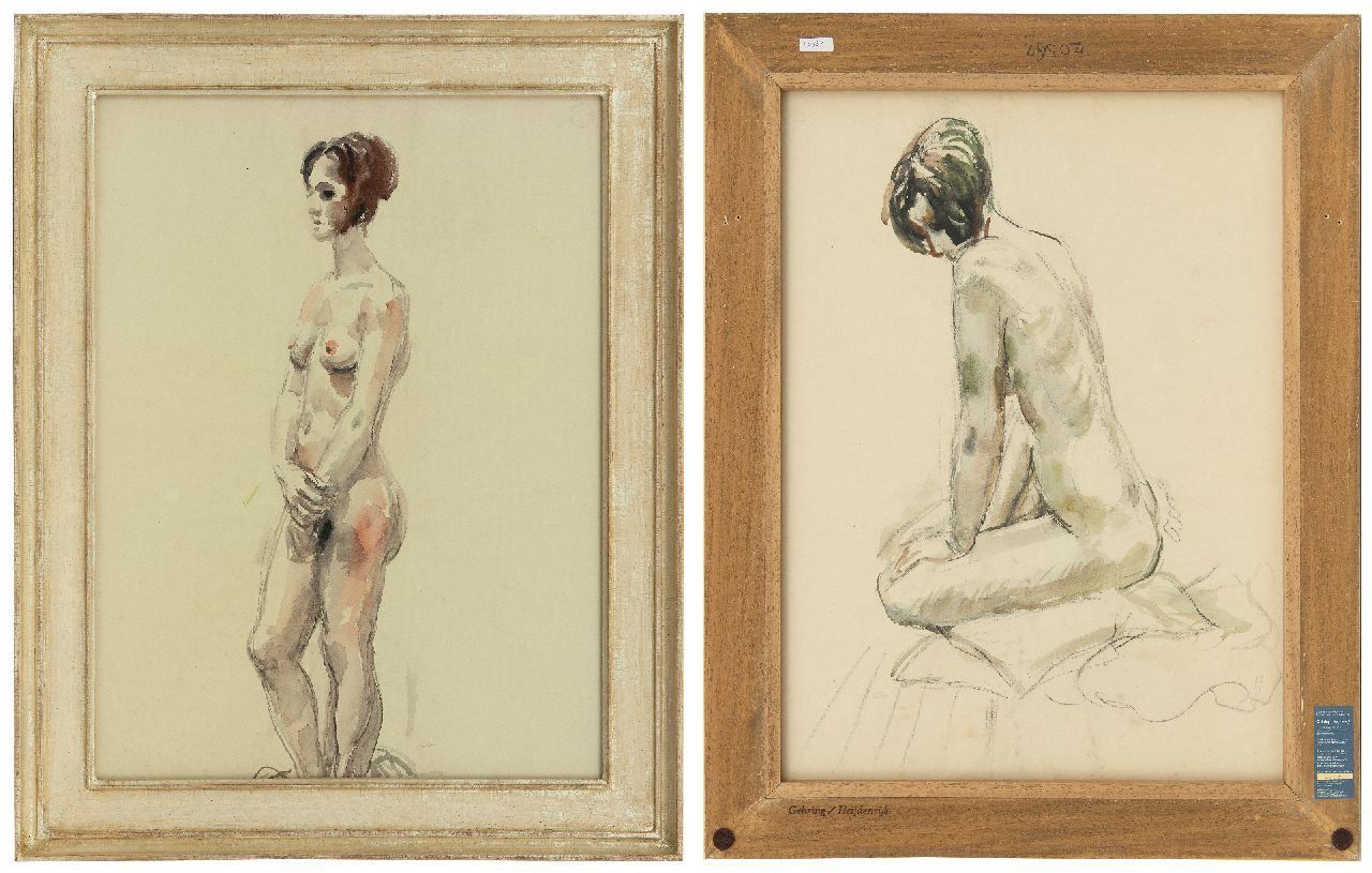 Dijkstra J.  | Johannes 'Johan' Dijkstra | Watercolours and drawings offered for sale | Standing nude, black chalk and watercolour on paper 62.7 x 46.6 cm