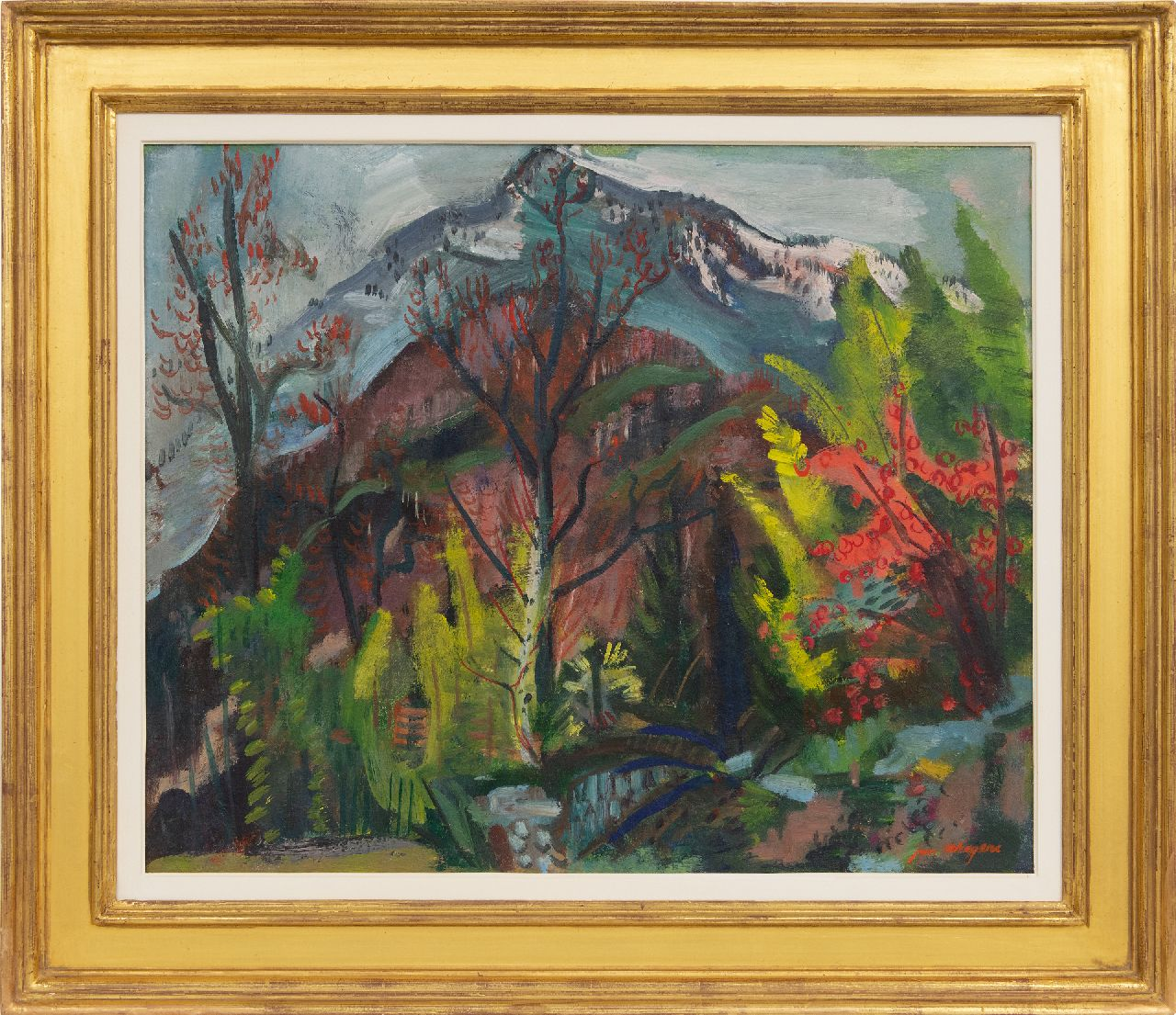 Wiegers J.  | Jan Wiegers | Paintings offered for sale | Garden in Ticino, wax paint on canvas 50.6 x 61.7 cm, signed l.r. and painted ca. 1947-1950
