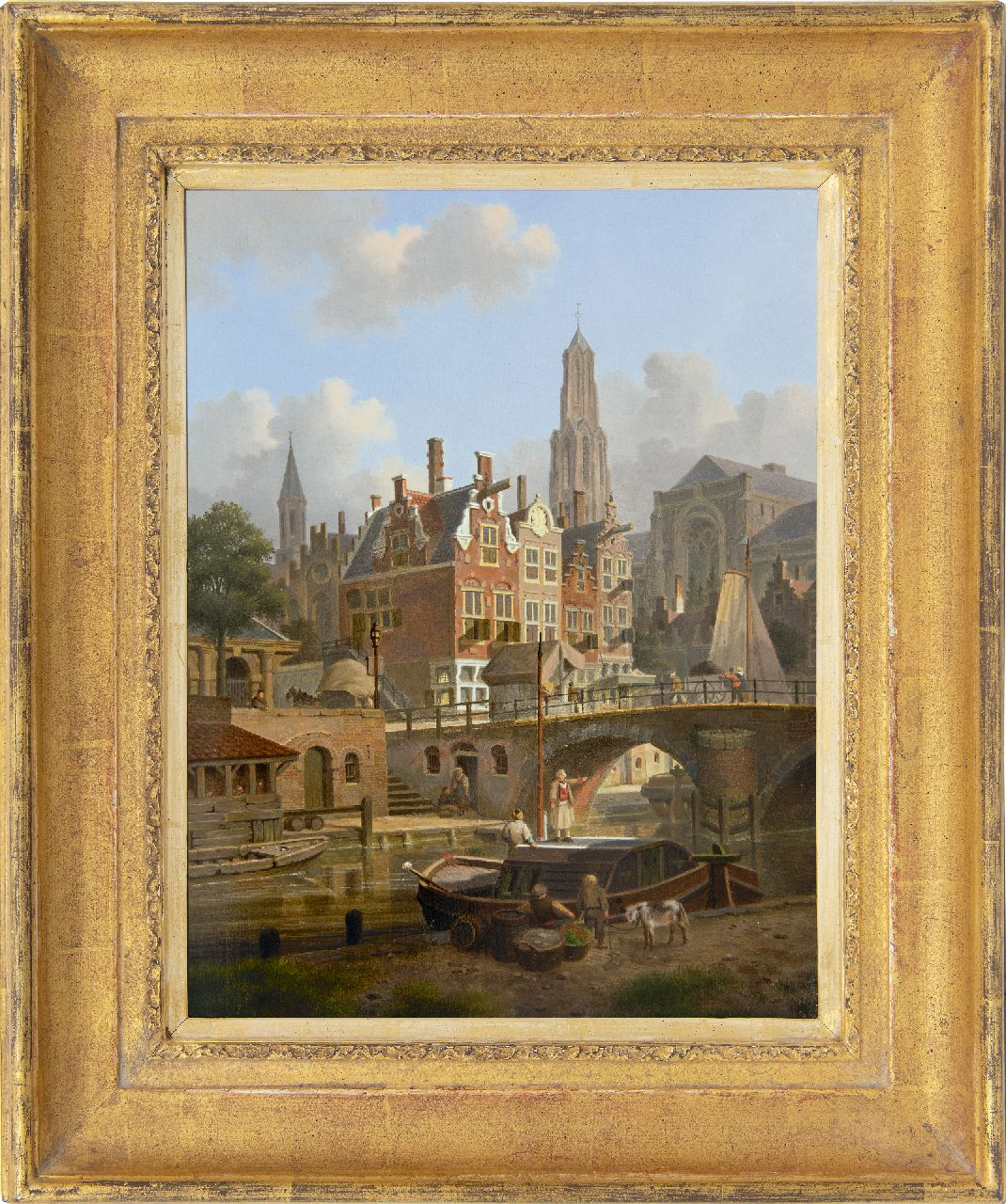 Verheijen J.H.  | Jan Hendrik Verheijen | Paintings offered for sale | A capriccio of the Oudegracht and the Domchurch in Utrecht, oil on panel 31.7 x 24.2 cm, signed l.l.
