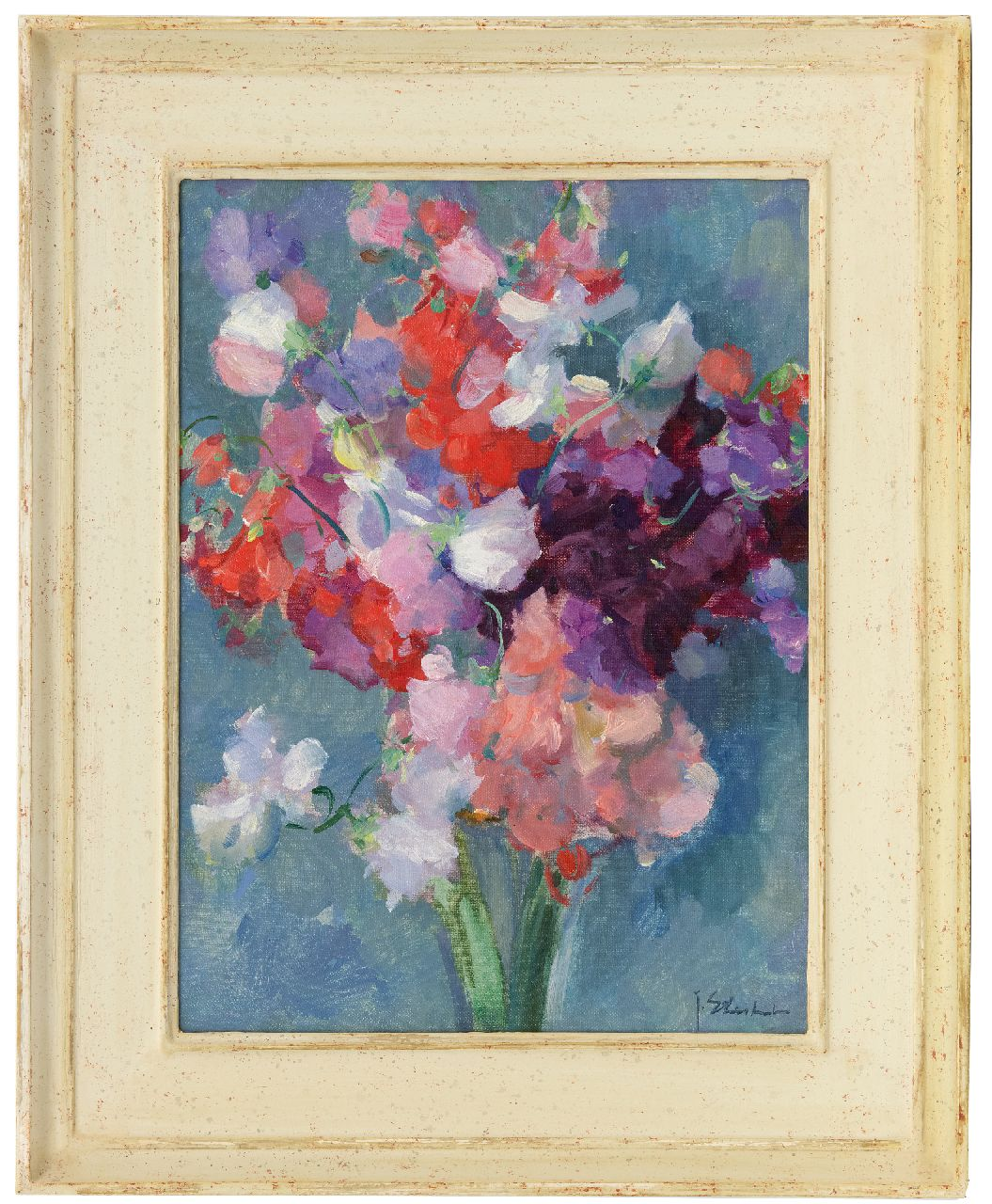 Stierhout J.A.U.  | Josephus Antonius Ubaldus 'Joop' Stierhout | Paintings offered for sale | Sweet pea, oil on canvas 40.4 x 30.1 cm, signed l.r.