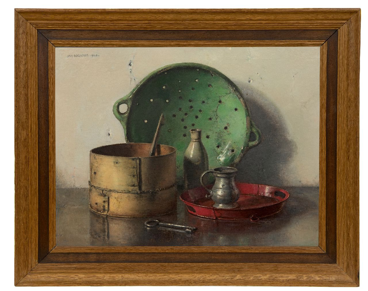 Bogaerts J.J.M.  | Johannes Jacobus Maria 'Jan' Bogaerts, Still life with a green strainer, oil on canvas 50.2 x 66.1 cm, signed u.l. and dated 1948