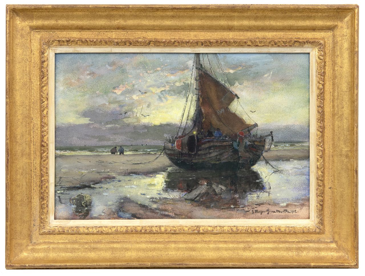Munthe G.A.L.  | Gerhard Arij Ludwig 'Morgenstjerne' Munthe | Watercolours and other works on paper offered for sale | Fishing vessel on the beach, watercolour and gouache on paper 32.3 x 49.5 cm, signed l.r. and dated 1912