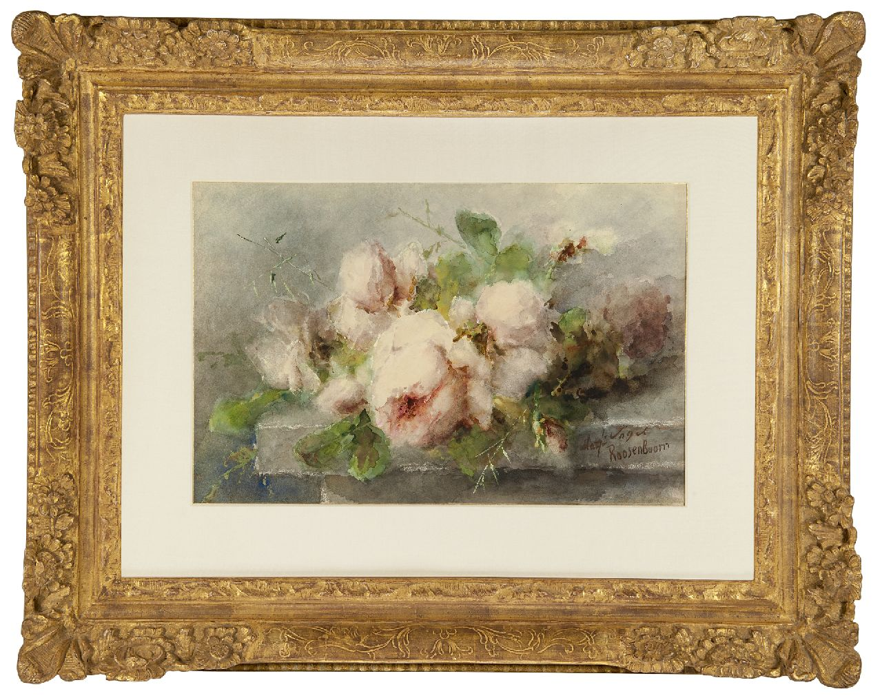 Roosenboom M.C.J.W.H.  | 'Margaretha' Cornelia Johanna Wilhelmina Henriëtta Roosenboom | Watercolours and drawings offered for sale | Pink roses on a stone ledge, watercolour and gouache on paper 35.1 x 53.3 cm, signed l.r.