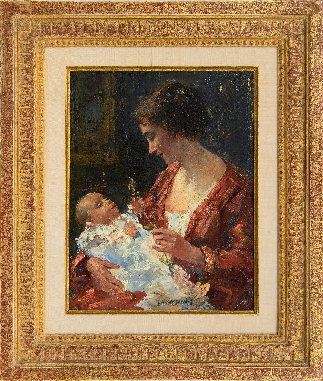 Maris S.W.  | Simon Willem Maris | Paintings offered for sale | Mother and child, oil on canvas 29.0 x 22.5 cm, signed l.c.