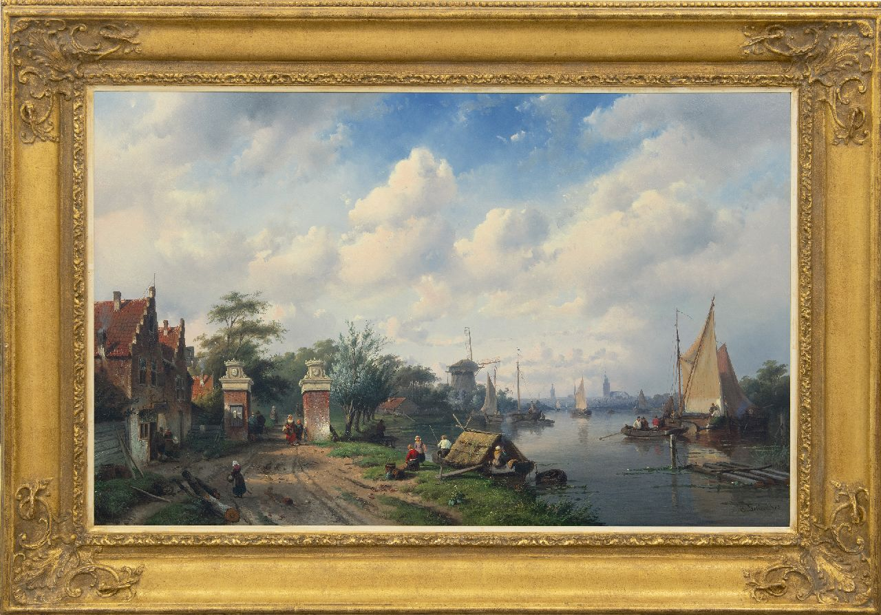 Leickert C.H.J.  | 'Charles' Henri Joseph Leickert | Paintings offered for sale | Sunny river scene with tollgate, oil on panel 65.4 x 103.0 cm, signed l.r. and dated '53