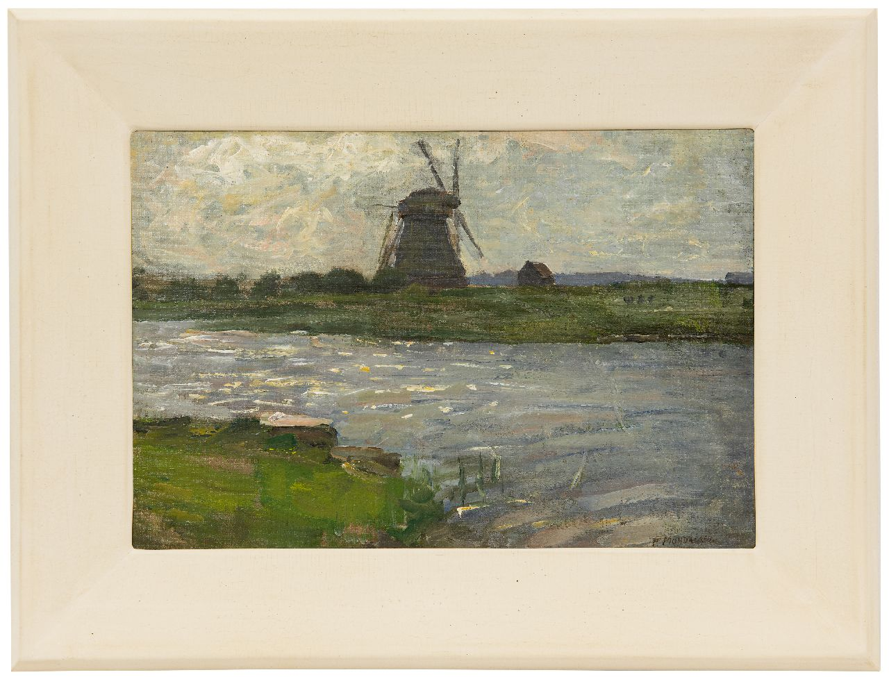 Mondriaan P.C.  | Pieter Cornelis 'Piet' Mondriaan, The Oostzijdse Mill at the Gein, viewed from the Landzicht farmhouse, oil on canvas 27.5 x 40.5 cm, signed l.r. and painted ca. 1902-1903
