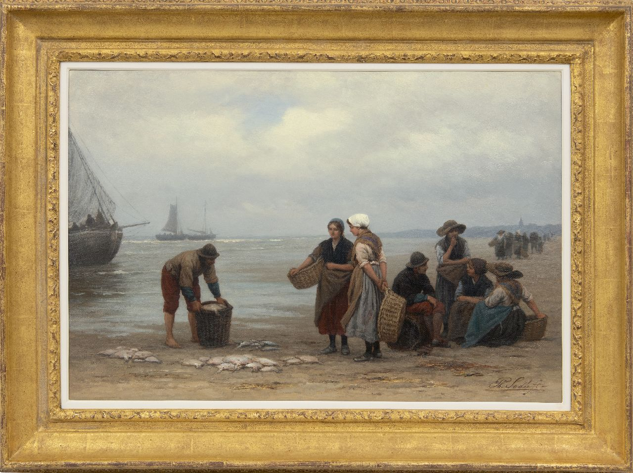 Sadée P.L.J.F.  | Philip Lodewijk Jacob Frederik Sadée, Selling fish on the beach of Scheveningen, oil on canvas 49.9 x 75.0 cm, signed l.r.