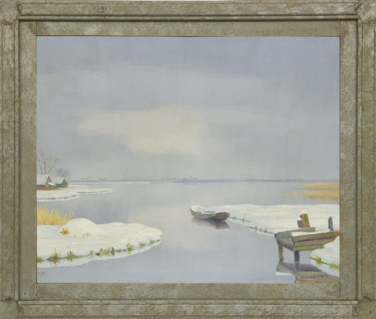 Smorenberg D.  | Dirk Smorenberg | Paintings offered for sale | A winter water landscape near Loosdrecht, oil on canvas 50.2 x 60.5 cm, signed l.r.
