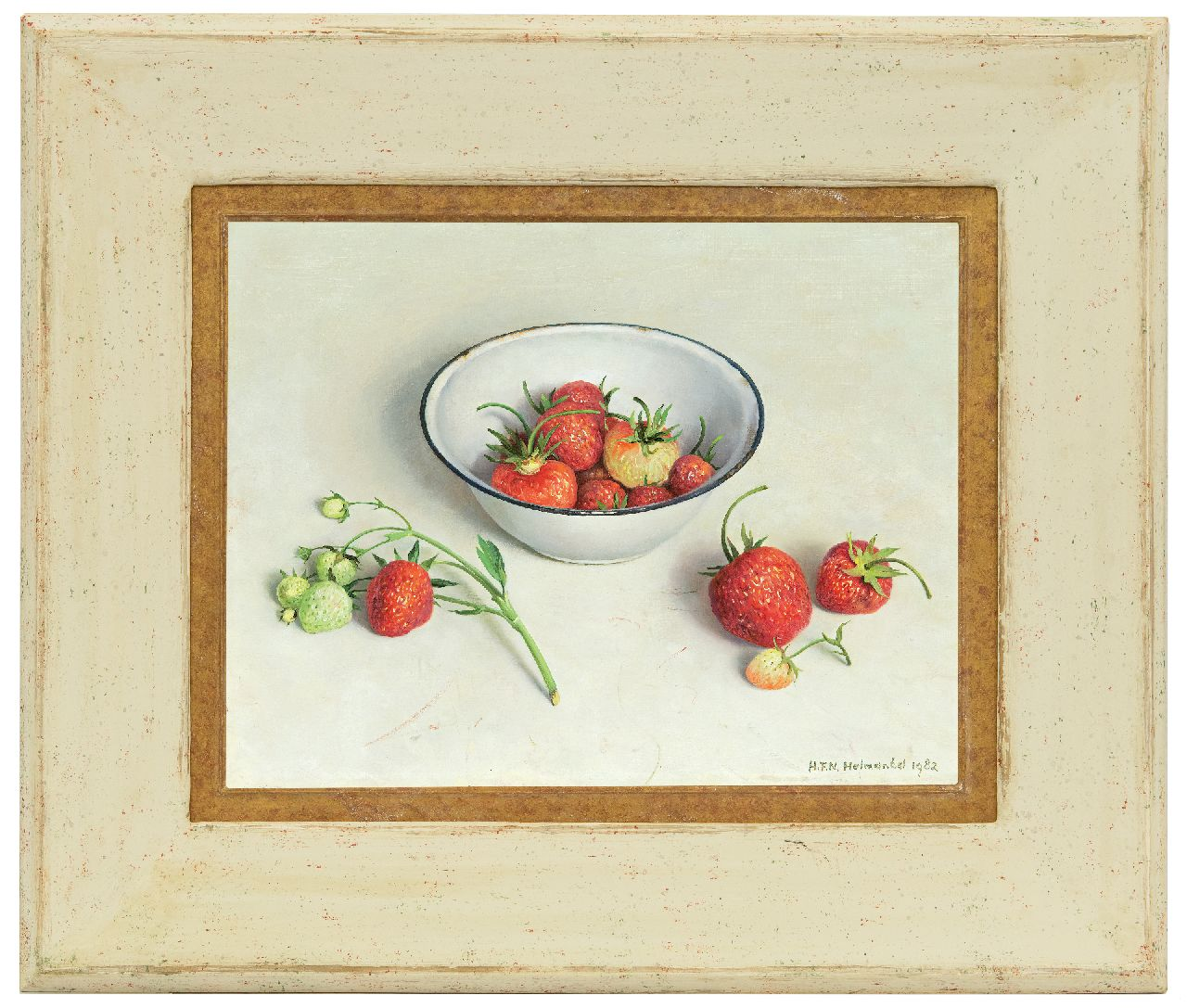 Helmantel H.F.N.  | Hindrik Frans Nicolaas 'Henk' Helmantel | Paintings offered for sale | A still life with an enamel bowl and strawberries, oil on board 26.4 x 34.2 cm, signed l.r. and on the reverse and dated recto and on the reverse '28 juni 1982'