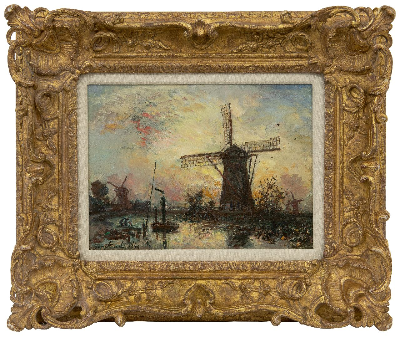 Jongkind J.B.  | Johan Barthold Jongkind | Paintings offered for sale | Moulins au bord d'un canal, Hollande, oil on canvas 24.6 x 33.0 cm, signed l.l. and dated 1869
