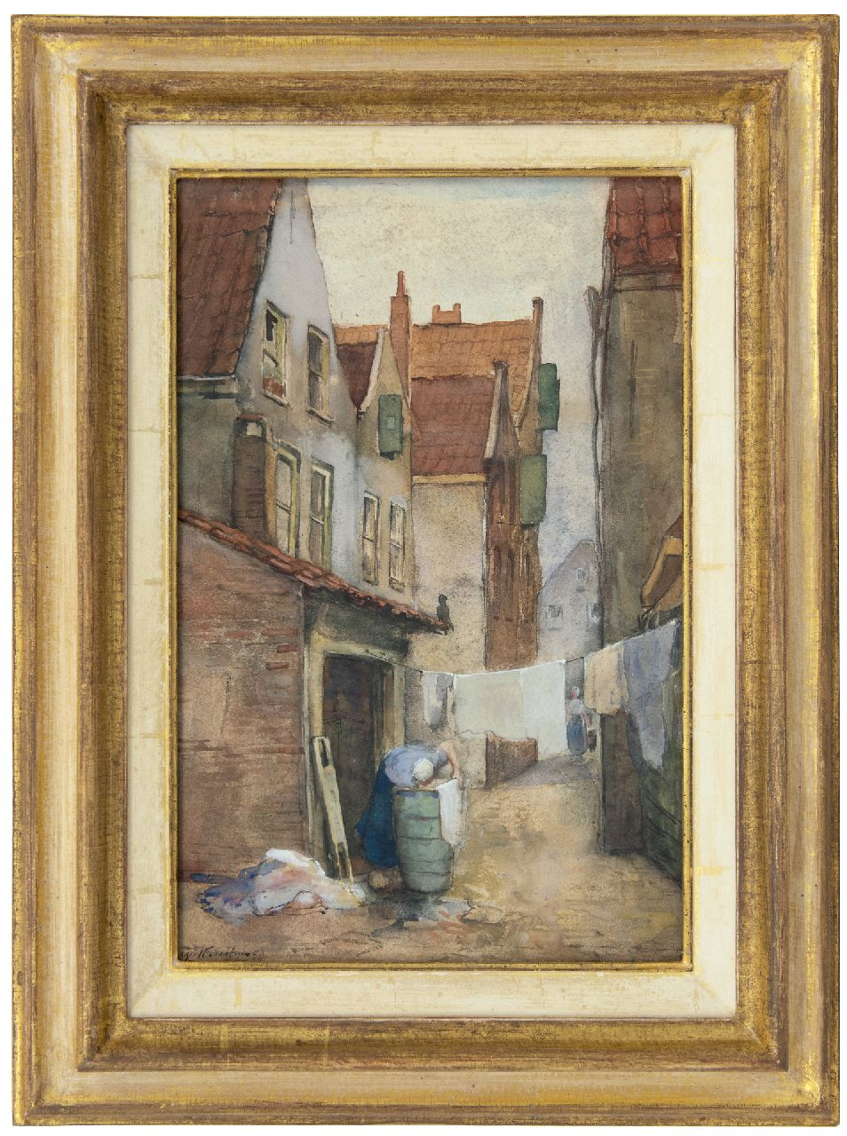 Breitner G.H.  | George Hendrik Breitner | Watercolours and drawings offered for sale | Alley in Rotterdam with laundress, watercolour on paper 39.1 x 25.7 cm, signed l.l. and dated '80