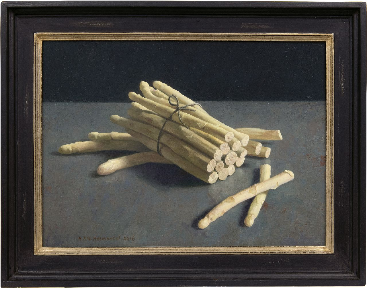 Helmantel H.F.N.  | Hindrik Frans Nicolaas 'Henk' Helmantel | Paintings offered for sale | Asparagus from the fish market, oil on board 40.0 x 54.6 cm, signed l.l. and dated 2016