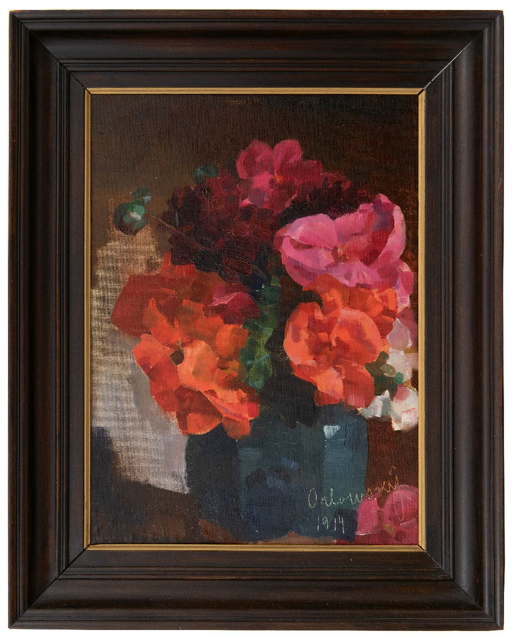 Orlowsky H.O.  | Hans Otto Orlowsky | Paintings offered for sale | Flower still life, oil on canvas on board, laid down on panel 49.1 x 36.2 cm, signed l.r. and dated 1914