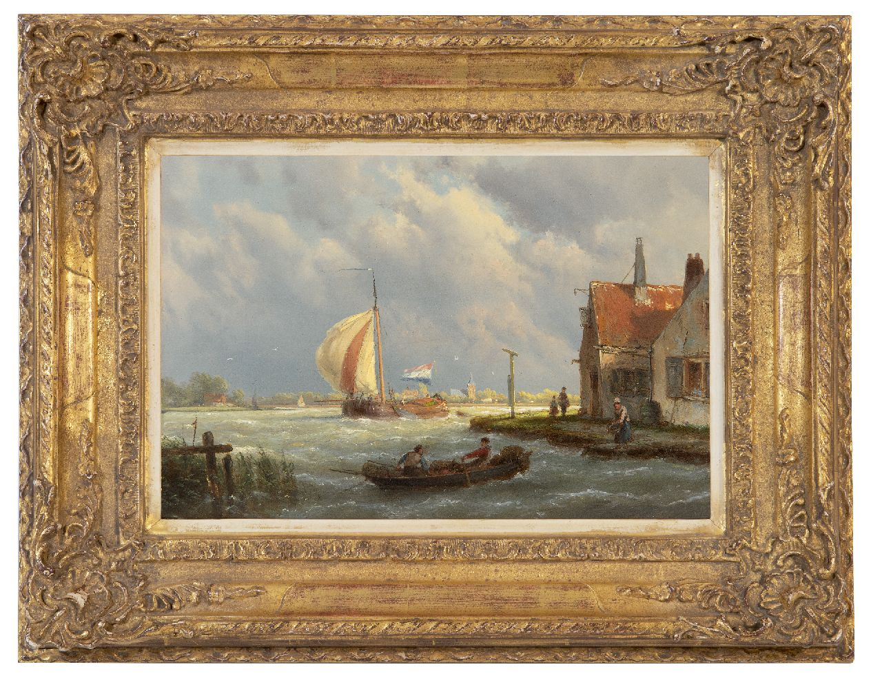 Koekkoek H.  | Hermanus Koekkoek | Paintings offered for sale | Sailing tjalk in sturdy weather, oil on panel 22.1 x 32.0 cm, signed c.r. on the house