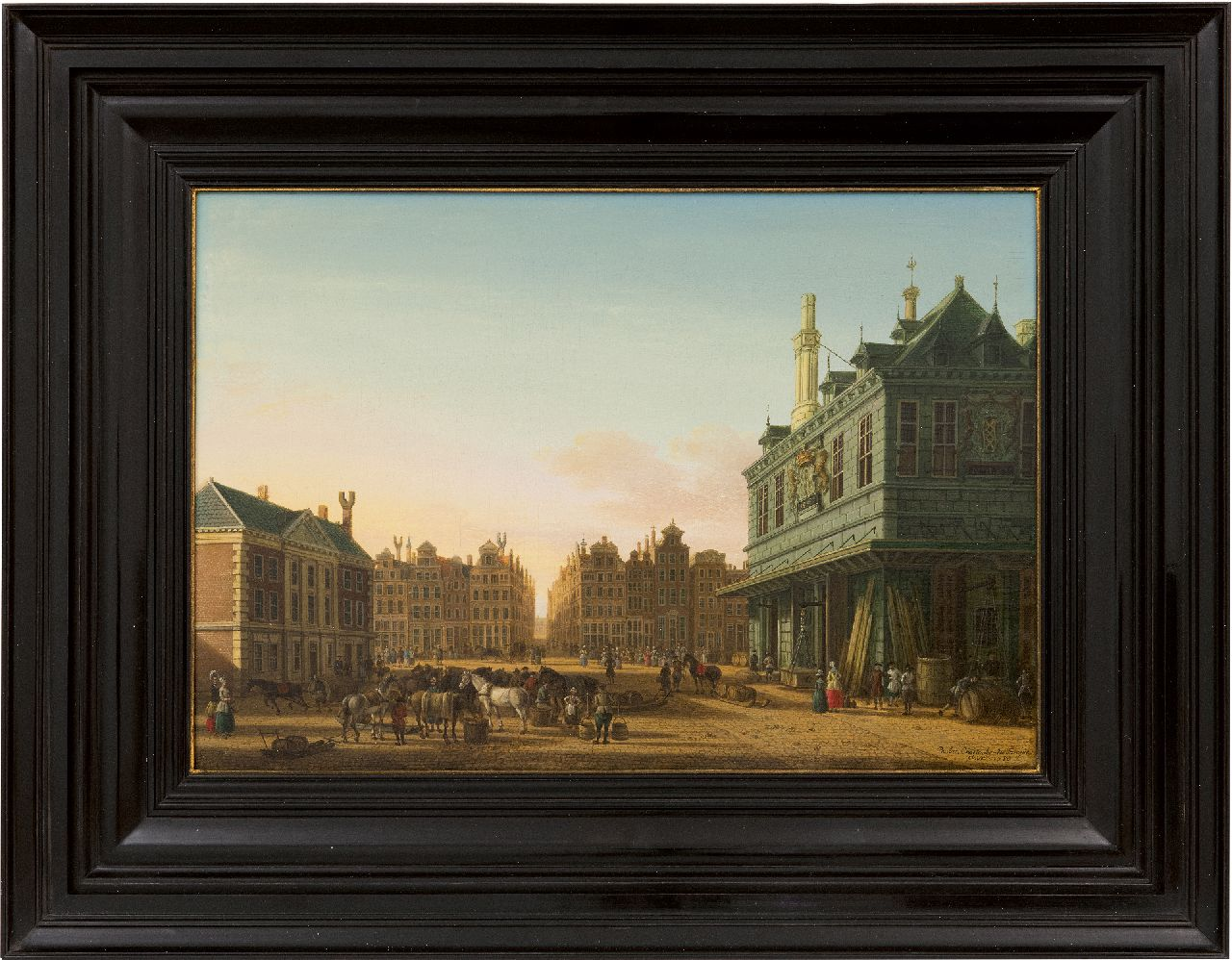 Fargue P.C. la | Paulus Constantijn la Fargue | Paintings offered for sale | The Dam square in Amsterdam with the Waag and the Beurssteeg in the distance, oil on panel 31.3 x 45.8 cm, signed l.r. and dated 1780