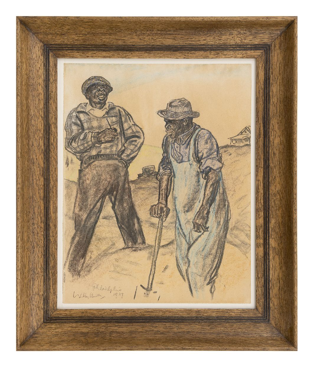 Sluiter J.W.  | Jan Willem 'Willy' Sluiter | Watercolours and drawings offered for sale | Diggers, Philadelpia, drawing on paper 46.6 x 36.3 cm, signed l.l. and dated 1927