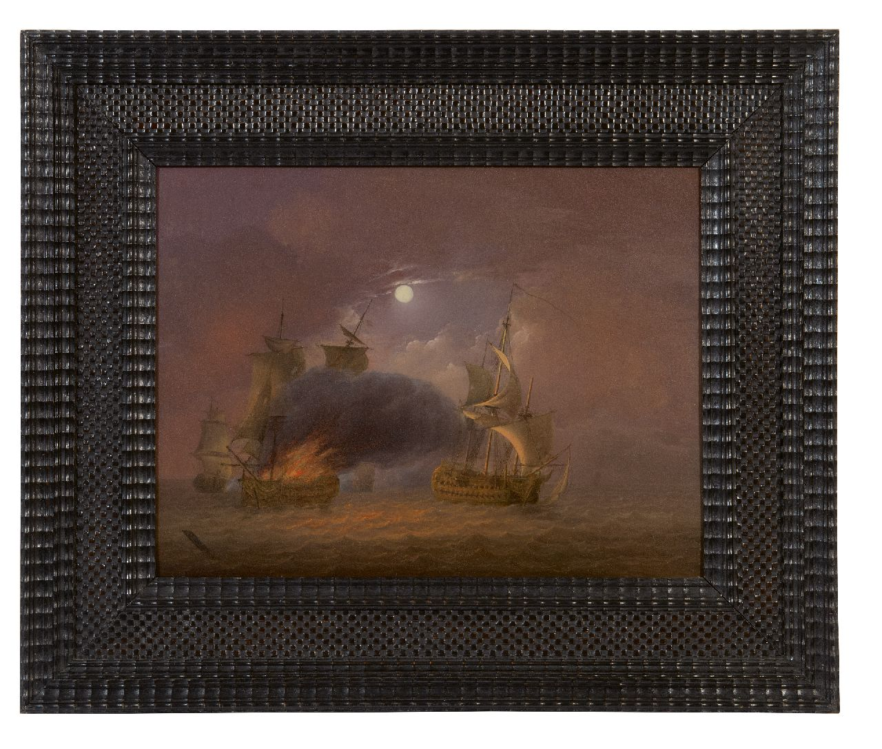 Os J. van | Jan van Os | Paintings offered for sale | A naval battle in moonlight, oil on panel 26.6 x 35.3 cm, signed l.l. and painted ca. 1800