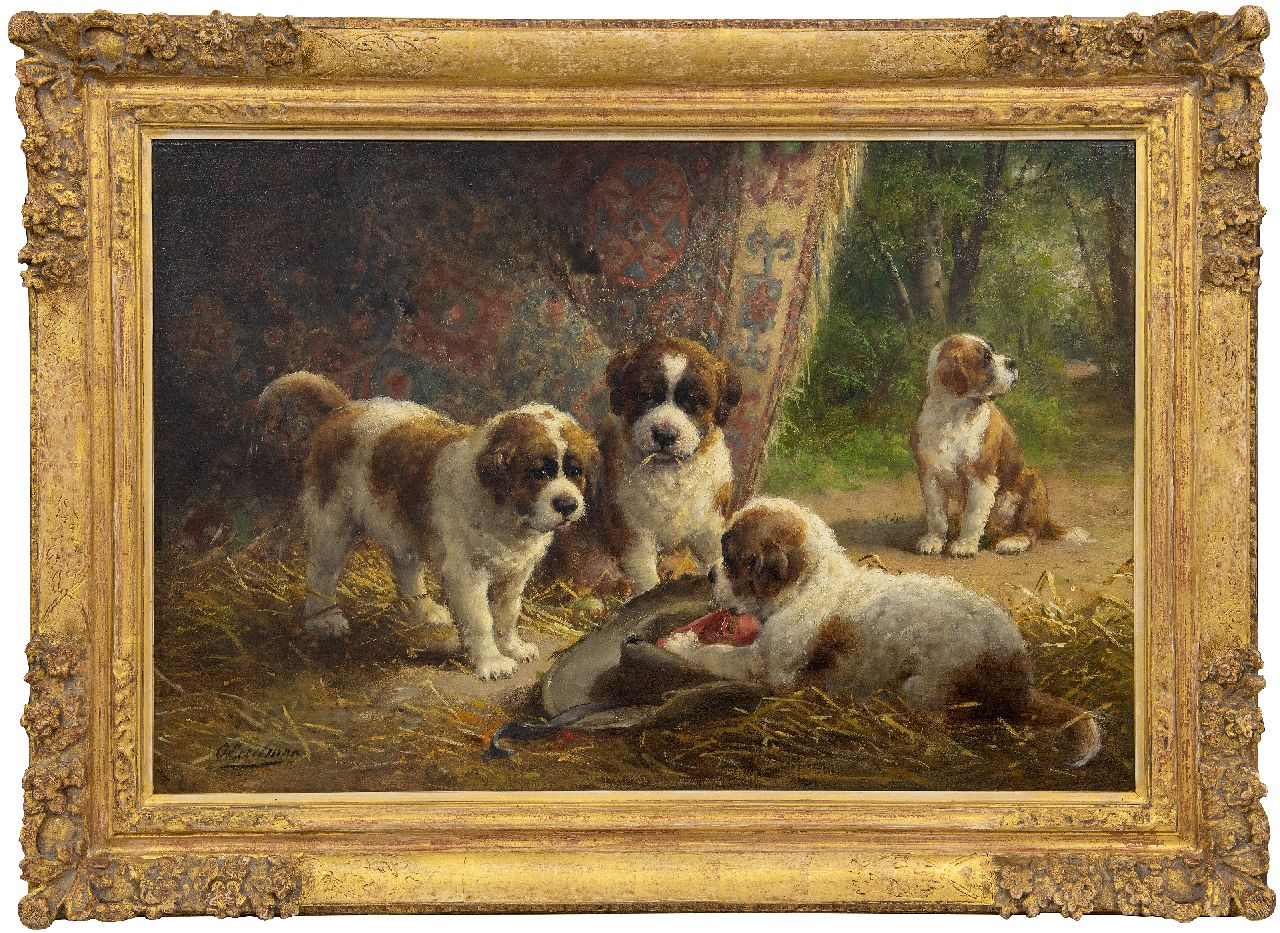 Eerelman O.  | Otto Eerelman | Paintings offered for sale | St. Bernard puppies, oil on canvas 60.8 x 90.5 cm, signed l.r.