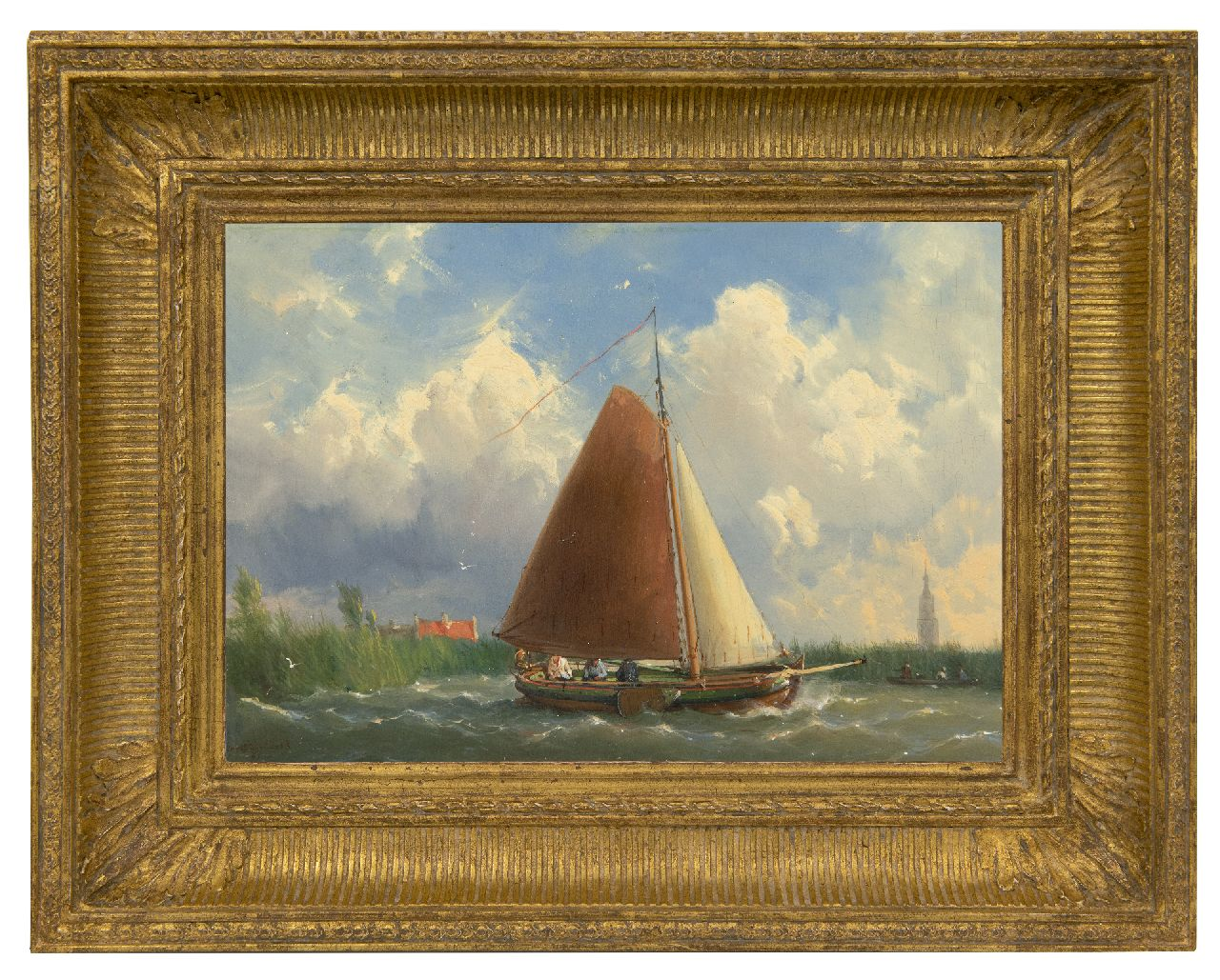 Koekkoek J.H.B.  | Johannes Hermanus Barend 'Jan H.B.' Koekkoek | Paintings offered for sale | Shipping on a Frisian yacht, oil on panel 23.1 x 32.6 cm, signed l.l. and dated '61