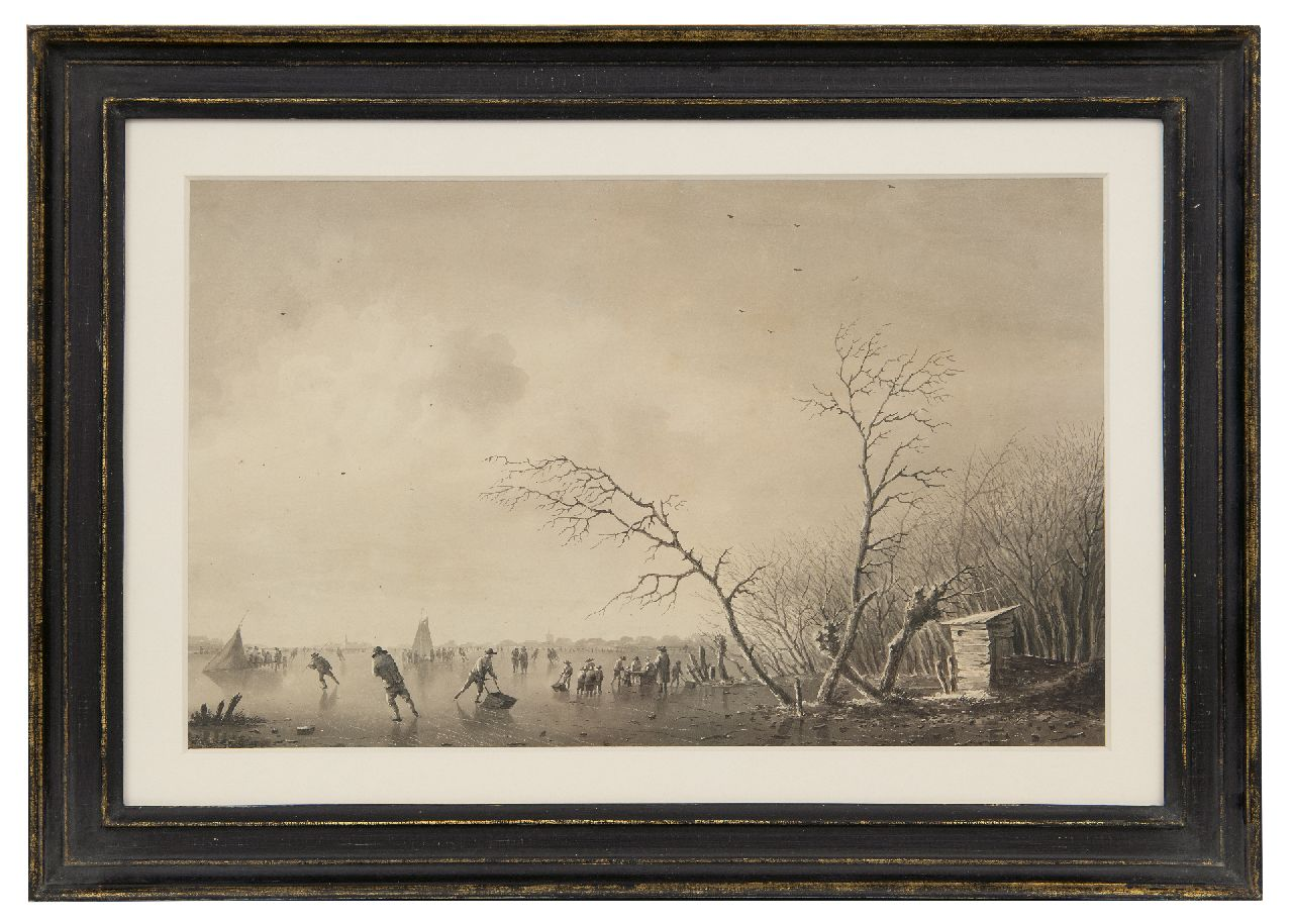 Schelfhout A.  | Andreas Schelfhout | Watercolours and drawings offered for sale | Skaters, koek-en-zopie and ice sailing boat on a frozen waterway, brush and ink on paper 21.0 x 33.5 cm, signed l.r.