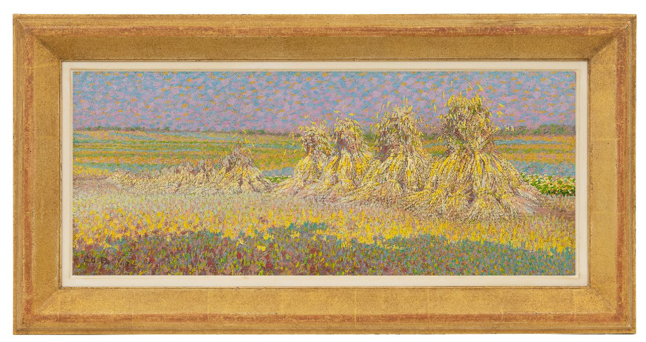 Breman A.J.  | Ahazueros Jacobus 'Co' Breman | Paintings offered for sale | Sheaves of wheat, oil on canvas 22.7 x 54.3 cm, signed l.l. and dated 1904