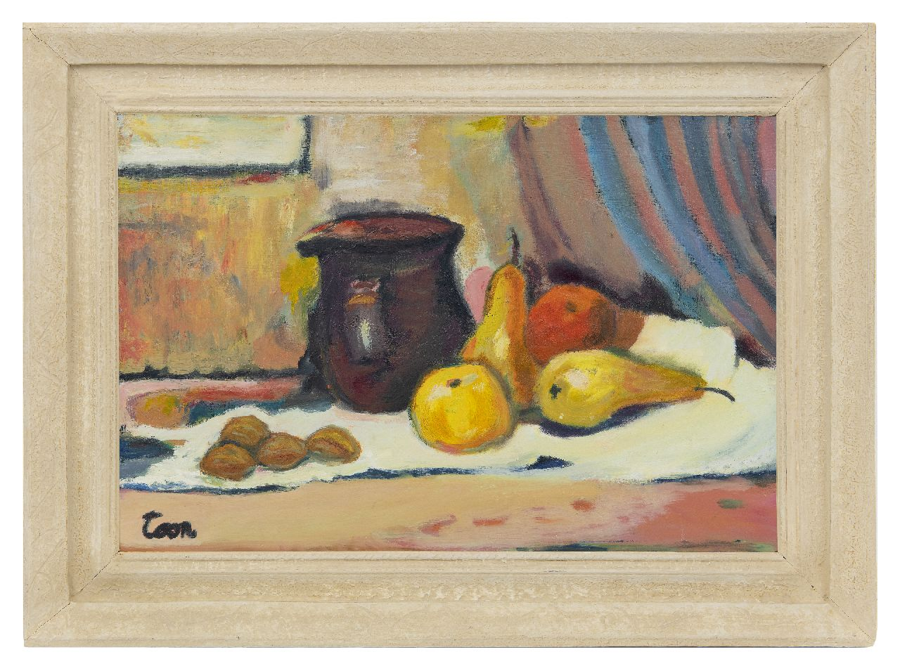 Hermans A.G.T.  | Antoine Gerard Theodore 'Toon' Hermans | Paintings offered for sale | Still life with jug and pears, oil on canvas 40.2 x 60.0 cm, signed l.l.