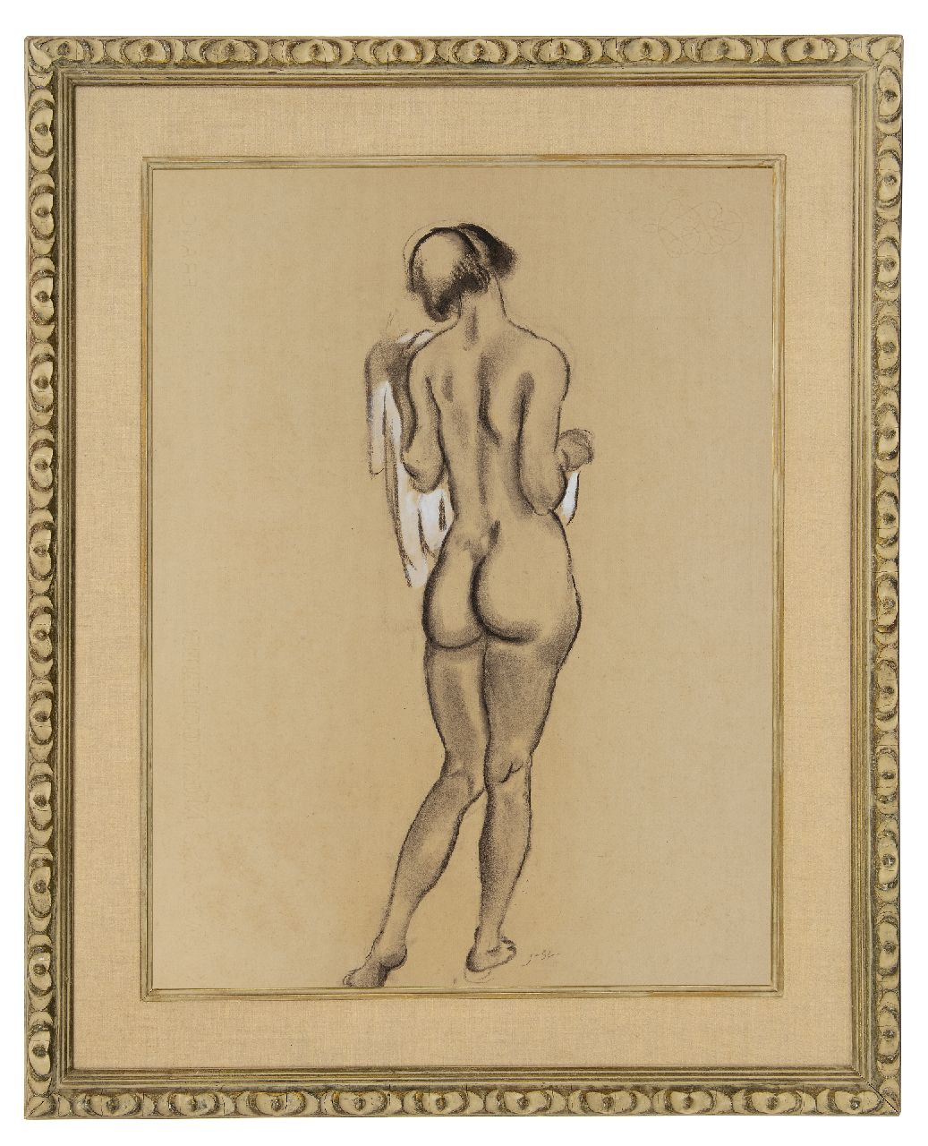 Sluijters J.C.B.  | Johannes Carolus Bernardus 'Jan' Sluijters | Watercolours and drawings offered for sale | Standing female nude, seen on the back, charcoal and watercolour on paper 61.9 x 47.6 cm, signed l.c. with initials and executed ca. 1920