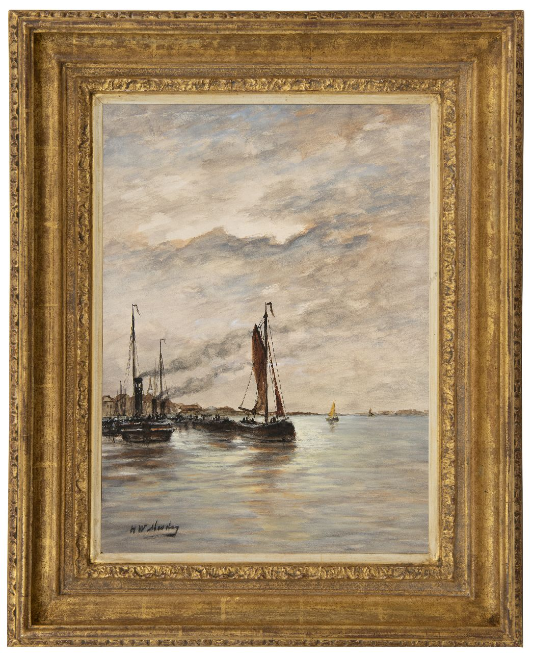 Mesdag H.W.  | Hendrik Willem Mesdag | Watercolours and drawings offered for sale | Fishing vessels in a harbour, watercolour on paper 43.2 x 31.8 cm, signed l.l.
