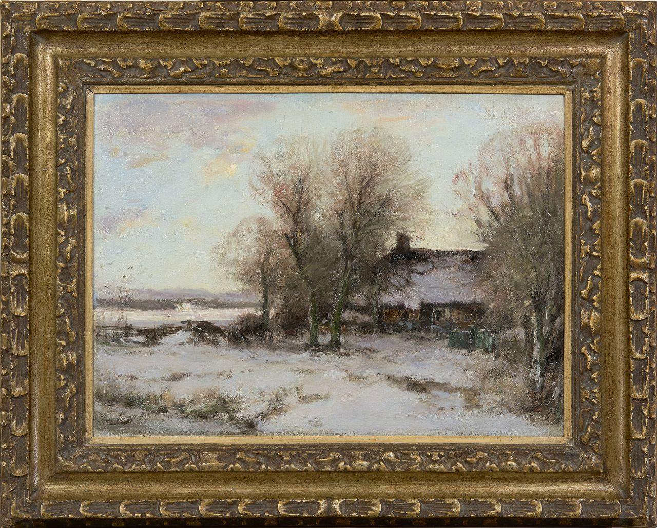Apol L.F.H.  | Lodewijk Franciscus Hendrik 'Louis' Apol | Paintings offered for sale | Farmhouse in a snowy landscape, oil on canvas 34.3 x 46.2 cm, signed l.l.