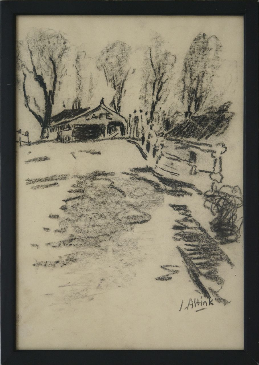 Altink J.  | Jan Altink, Café near the bridge in Steentil, charcoal on paper 48.5 x 33.5 cm, signed l.r. and executed ca. '56