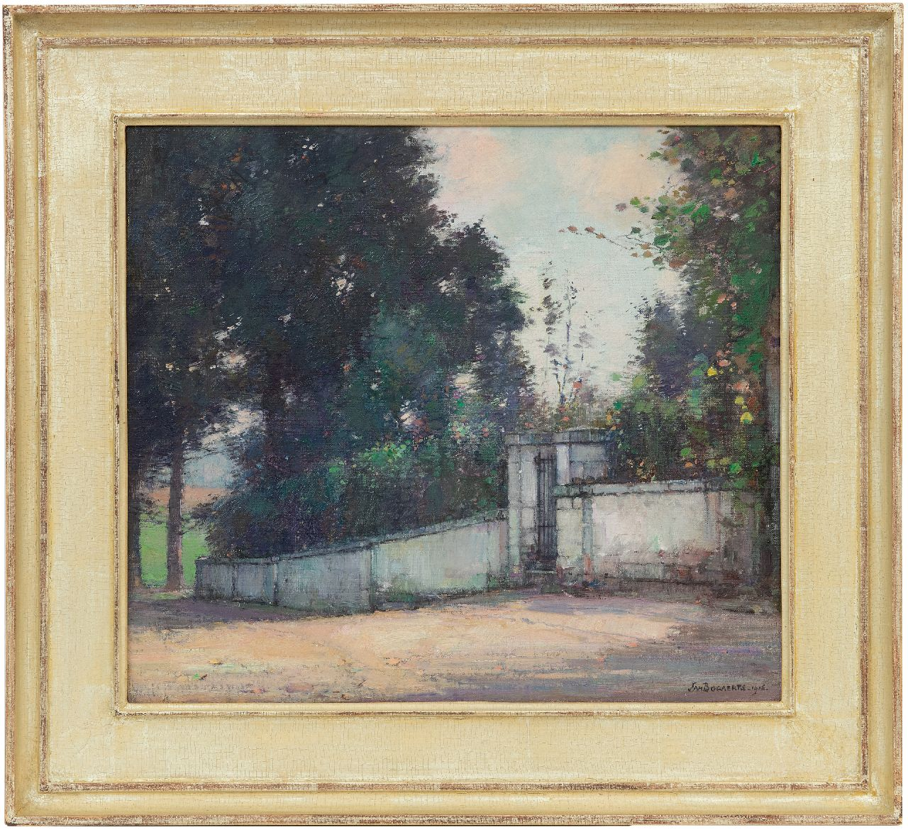 Bogaerts J.J.M.  | Johannes Jacobus Maria 'Jan' Bogaerts | Paintings offered for sale | Garden wall with a gate, oil on canvas 35.1 x 40.0 cm, signed l.r. and dated 1916