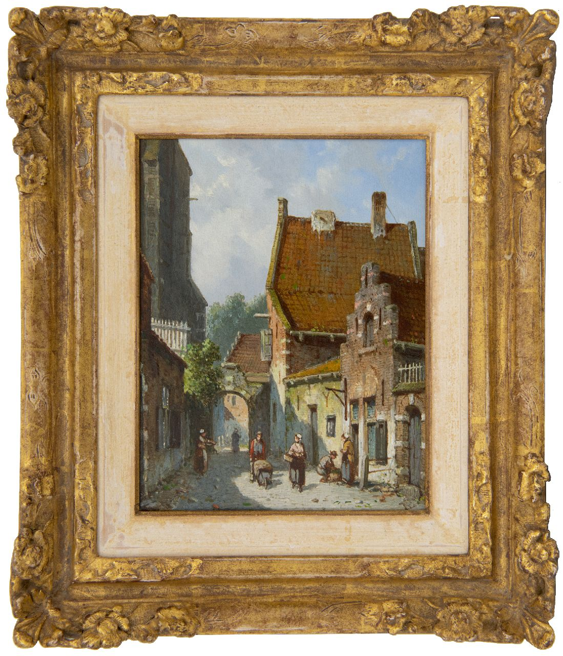 Eversen A.  | Adrianus Eversen | Paintings offered for sale | A sunny street behind the church, oil on panel 19.1 x 14.9 cm, signed l.r. with monogram and on the reverse in full